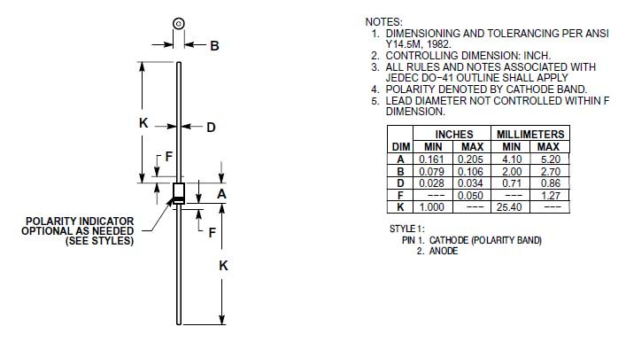 rectifier diode identification chart